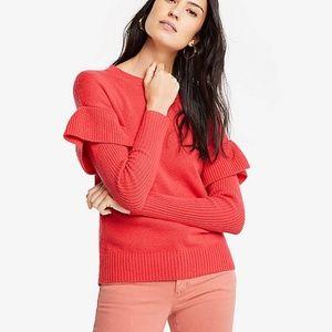 NWT Ann Taylor  Flounce Sleeve Sweater. Size L